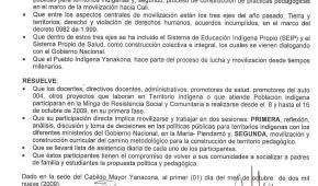 Resolución sobre participación en la Minga de octubre 8 en adelante