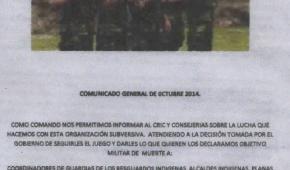 Continua las amenzas a los pueblos y líderes indígenas del Cauca